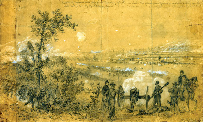 Harper's Weekly illustrator Alfred Waud sketched the view from the Federal lines at Malvern Hill. The attack of Confederate Maj. Gen. D.H. Hill's division forced Brig. Gen. Fitz John Porter to call for reinforcements.
