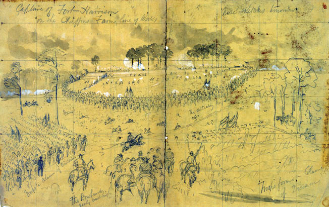Combat artist Alfred Waud sketched the Union attack on Fort Harrison from the field for Harper's Weekly. The peripatetic Waud covered every Army of the Potomac battle from Bull Run to Petersburg.