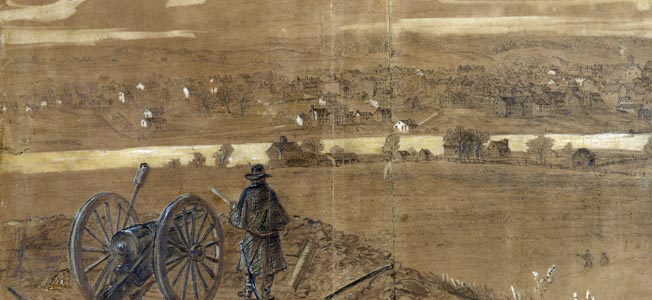 A vigilant artillery officer stands beside his gun overlooking the town of Fredericksburg, Virginia. The Union artillery reserve took part in a 10-hour bombardment of the town prior to the battle.