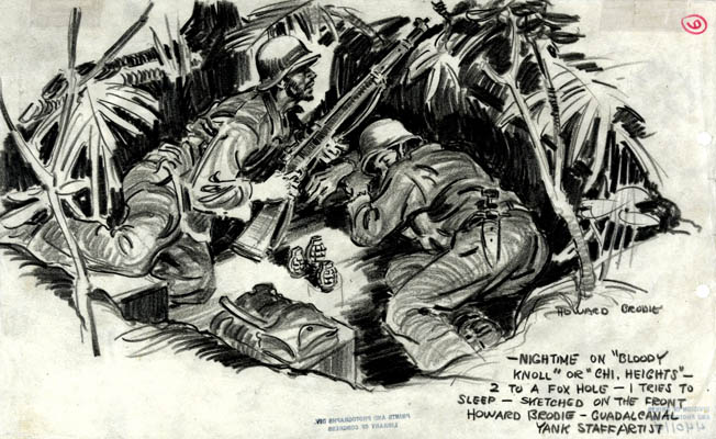 The hardship of constant frontline duty is captured in a Brodie sketch of two Marines sharing a foxhole.