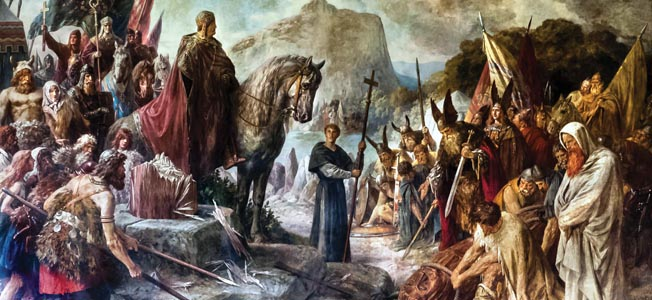 Widukind is baptized following his voluntary surrender in a romantic depiction of the event. Continued Saxon uprisings compelled Charlemagne to resettle some Saxons inside the Frankish kingdom.
