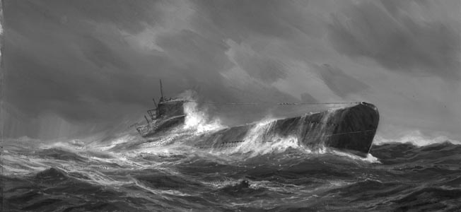 In this painting by German artist Adolf Beck, a U-boat is buffeted by wind and waves on the surface of the Atlantic Ocean. British Prime Minister Winston Churchill once said that the only time he was truly concerned about the outcome of the war was during the height of the U-boat menace.