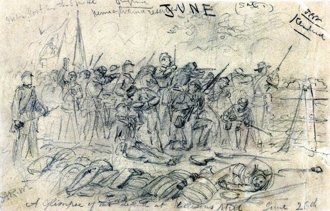 Discarded knapsacks, blankets, shovels, and other gear lie behind quick-firing Pennsylvania reserves fighting behind earthworks near Ellerson's Mill. Battlefield sketch by Alfred Waud.