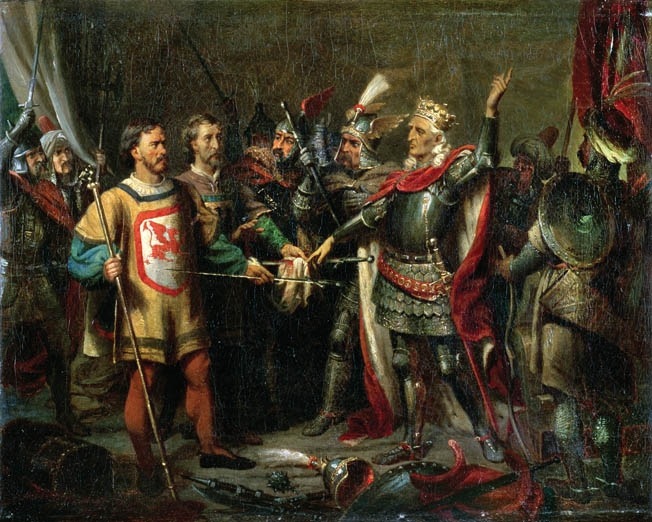 The mixed nature of the allied army is conveyed in this romantic depiction of the meeting of Polish, Lithuanian, and Tatar commanders before the battle. Jagiello showed great caution on the morning of the battle, whereas Vytautas was eager to attack.