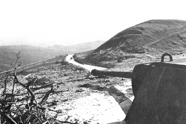 Before its capture, a German bunker in the Gothic Line had the highway well covered.