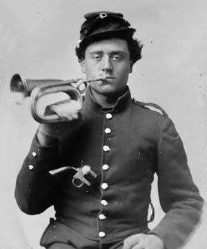 A bugler with the 9th Indiana, one of four Union regiments to grimly hold off Confederates in the Round Forest.