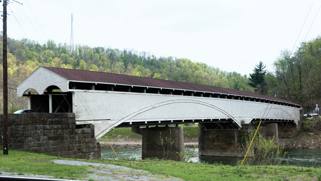 The covered bridge at Philippi looks much like it did when the Yankees stormed across it in the summer of 1861.