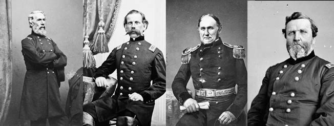 Future generals who served in western cavalry units before the war included, left to right, Edwin V. Sumner, Richard W. Johnson, David C. Twiggs, and George H. Thomas. Twiggs was the lone Confederate.
