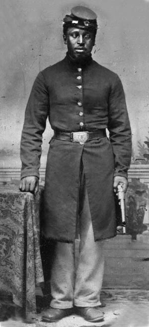 A well-turned-out artilleryman in the United States Colored Troops (USCT). Two African American units, the 6th U.S. Heavy Artillery and the 2nd U.S. Light Artillery, were stationed at Fort Pillow.