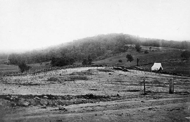 This photo of Culp's Hill taken not long after the battle shows the ravages of the fighting. Union Colonel Silas Colgrove's brigade was positioned at the left base of the hill.