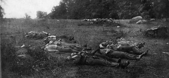 Union dead laid out for burial in the Wheatfield. The 4th U.S. Regulars brigade suffered heavy casualties in that field, losing 829 officers and men in an hour of fighting.