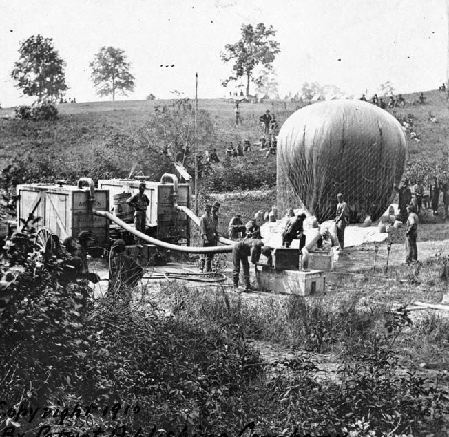Lowe's crew inflated the balloon Intrepid so that he could observe enemy forces at the Battle of Fair Oaks in 1862. Lowe, who saw large enemy columns moving into position, was able to confirm that the Confederates were making a full-scale attack and not a feint against the Union left.