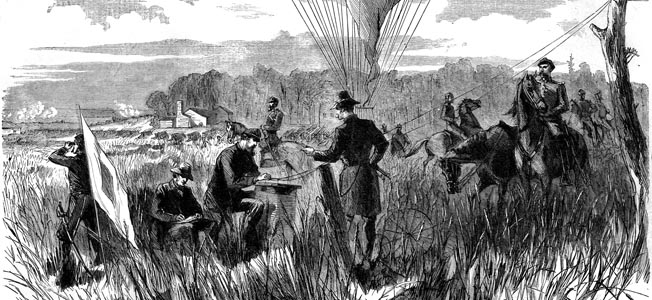 Thaddeus Lowe and his Union Army Balloon Corps pioneered aerial reconnaissance over some of the first battlefields of the American Civil War.