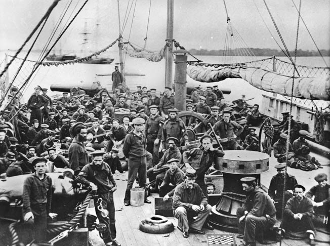 Sailors and Marines aboard the gunboat USS Mendota in 1864.