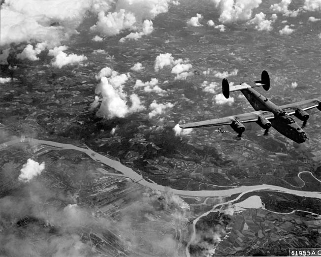 A B-24 (with another flying below) shown on a mission to Linz, Austria, July 25, 1944. Although harder to fly, and not as sleek as the B-17, the B-24 was considered a more rugged aircraft by many of its pilots and crew members.