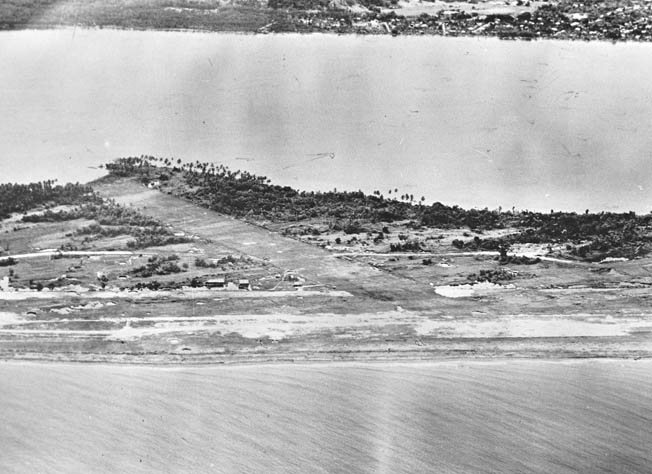 Tacloban airstrip on Leyte Island, originally built as part of a commercial airport known today as Daniel Z. Romualdez Airport.