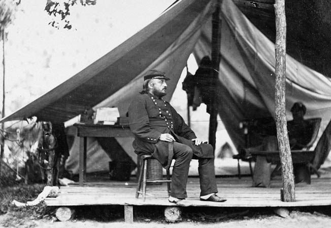 Union Maj. Gen. Benjamin Butler outside his tent near Richmond.