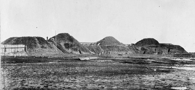 This interior view of Fort Fisher, photographed after its capture by Union forces, shows the first three traverses on the land end of the fort.