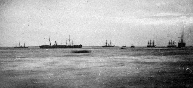 Union ships of the North Atlantic Blockading Squadron leave Hampton Roads, Virginia, en route to Fort Fisher in December 1864.