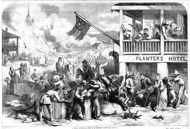 Northern artist Thomas Nast depicted Confederate guerrillas raiding a town, abusing citizens, and executing civilians. After McCook's death at the hand of such guerrillas, it was his comrades who did the abusing.