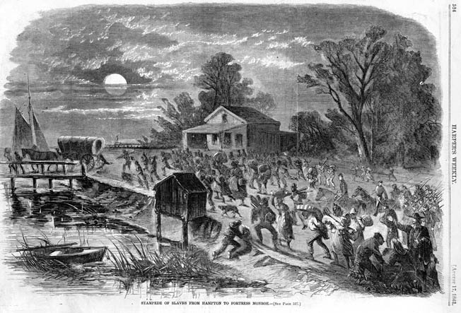 Fugitive slaves rush into Fort Monroe after learning that Butler is refusing to return them to their masters.