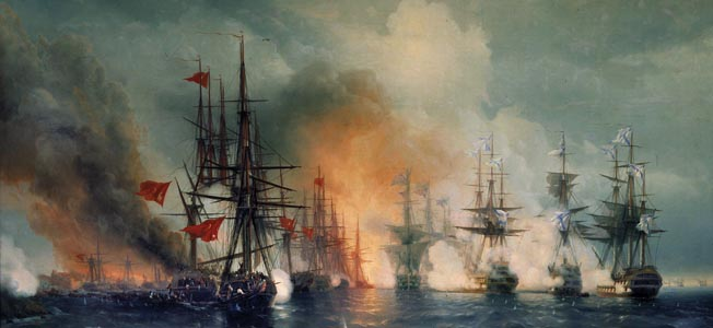 Czar Nicholas I's warships destroyed a squadron of unsuspecting Ottoman ships at Sinop in the Black Seat at the outset of the Crimean War.
