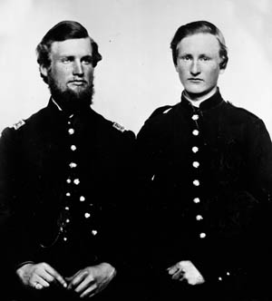 Captain John Raines, left, served in the 2nd Tennessee Cavalry; his brother, Private Thomas Raines, right, served in the 5th Tennessee Infantry. Both were Union Army units.