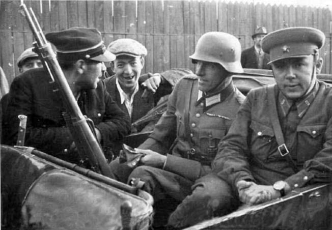 The fact that Nazi Germany and Soviet Russia had conspired to invade and partition Poland in 1939 was conveniently ignored during discussions of the future of Poland following the coming Allied victory in World War II at the Tehran Conference in 1943. In this photo, German and Soviet soldiers share a ride during operations in 1939.