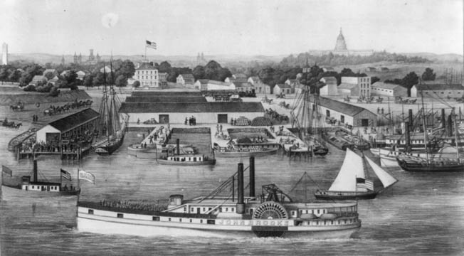Bird's-eye view of the Sixth Street Wharf at Washington, where Whitman arrived in early 1863. Wounded soldiers file from the paddle-wheeler John Brooks in the foreground.
