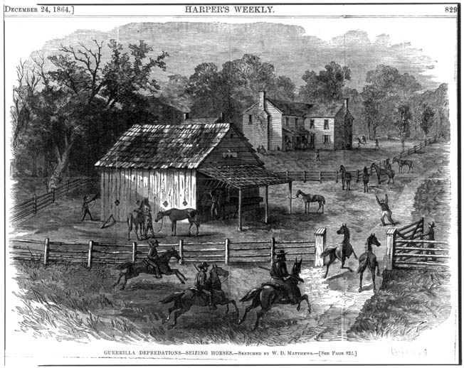 Pro-Union guerrillas steal horses from their fellow Southerners during a nighttime raid on a farm. Such raids were motivated, in part, by attacks by Confederate Army units or pro-slavery neighbors.