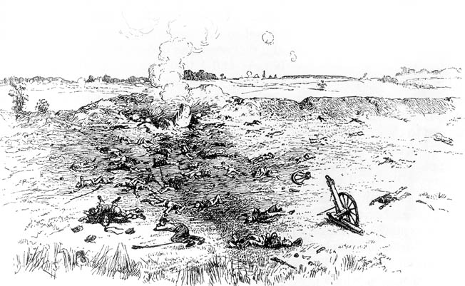 A sketch made immediately after the battle shows half-buried corpses, severed limbs, and scattered debris still smoking from the explosion, which could be heard several miles away.