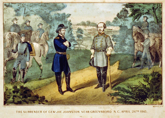 General Joseph E. Johnston, right, surrenders on the field to William Tecumseh Sherman in this fanciful illustration. They actually met in a farmhouse near Durham.