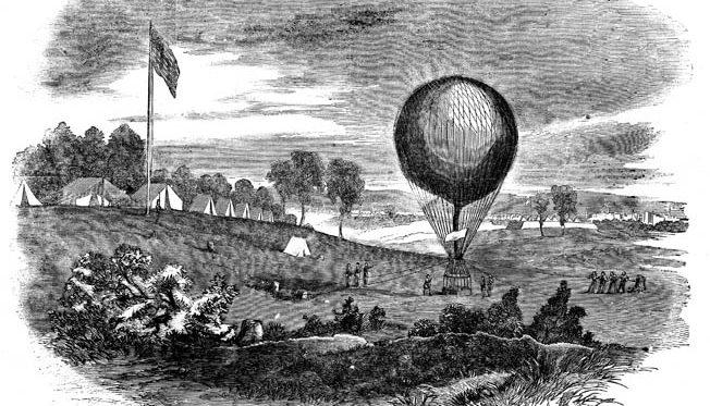 Professor Lowe's crew launch a reconnaissance balloon from Maj. Gen. Irwin McDowell's headquarters in summer 1861.