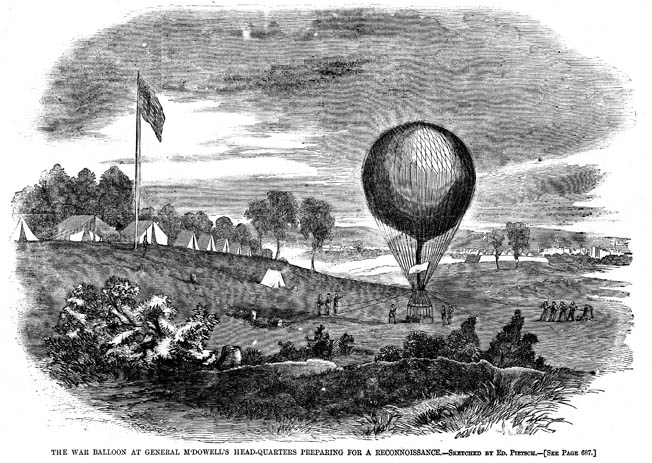 Professor Lowe's crew launch a reconnaissance balloon from Maj. Gen. Irwin McDowell's headquarters in summer 1861.
