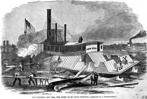 The Union gunboat New Era, shown under construction in St. Louis in 1861, proved little help to the desperate defenders of Fort Pillow. Captain James Marshall pulled back into the middle of the river, away from harm's way, during the final Confederate assault.