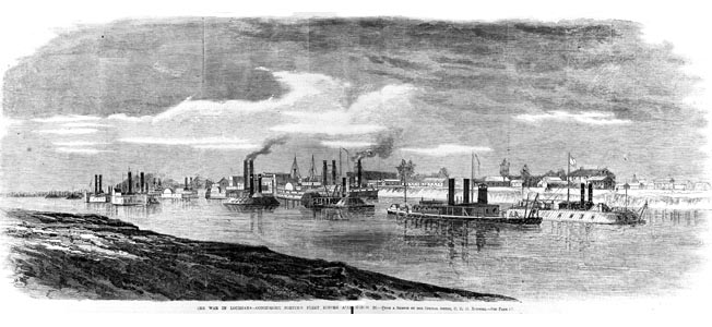 Admiral David Dixon Porter's Union fleet arrives in Alexandria at the start of the joint Army-Navy campaign to capture Shreveport and move into East Texas.