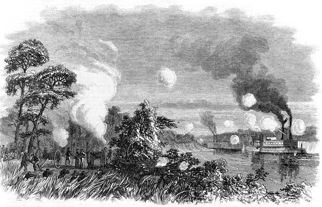 Destruction of the U.S. transport John Warner by Confederate batteries on May 4. The Union boats were sitting ducks in the shallow water.