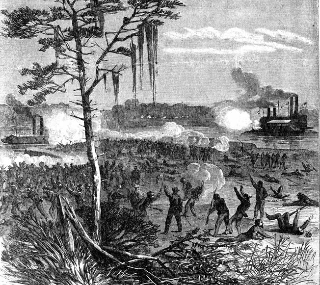 Porter's ships exchange fire with Confederate defenders lying in wait on the banks of the Red River. Snipers took a heavy toll on the Union gunboats.
