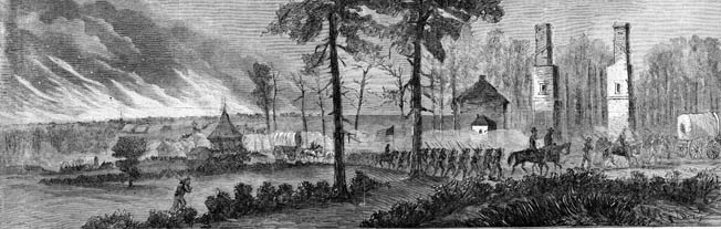 With Atlanta in flames behind them, Sherman's XIV and XX Corps march south. Each man carried a musket, 40 rounds of ammunition, a tin cup, and a haversack. The rest they would scavenge along the way.