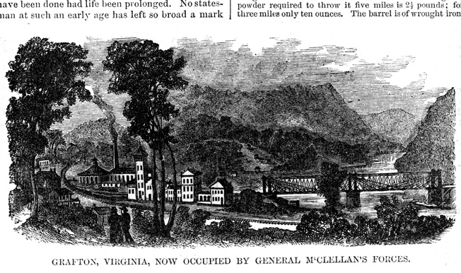 The railroad town of Grafton served as a supply base for Union operations in northwestern Virginia.