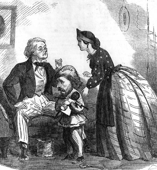 "Frémont is sketched as a petulant child suffering from a ""sore head"" in this period cartoon. ""Lincoln"" is imprinted on his scalp."