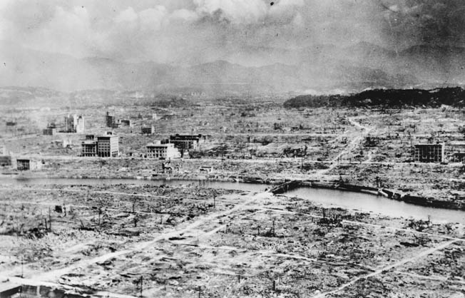 Hiroshima after the bomb. Everything was destroyed within a radius of five miles from ground zero. Over 200,000 people eventually died from the blast or radiation sickness.