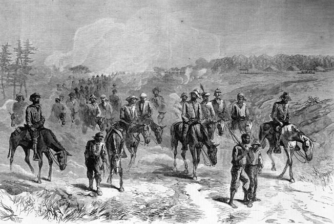 Brigadier General August Kautz' cavalry returns to Union lines after a raid behind Confederate defenses at Richmond. Kautz' horsemen pushed to within two miles of the Rebel capital before turning back.
