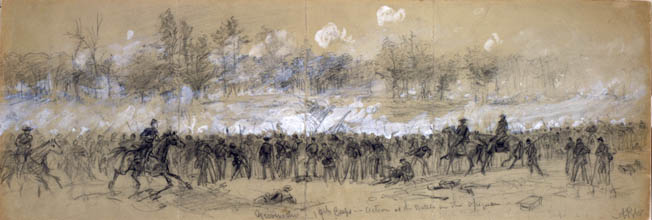"Union troops in Maj. Gen. William Emory's XIX Corps come under withering fire from Confederate defenders in the woods below Winchester. ""Smoke and flame streamed out in a long line, as though the whole forest had been suddenly ignited,"" one Federal officer reported."