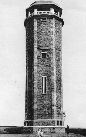 A prewar photograph of Hosingen's water tower, which became an American observation post and a focal point of the battle for Hosingen.