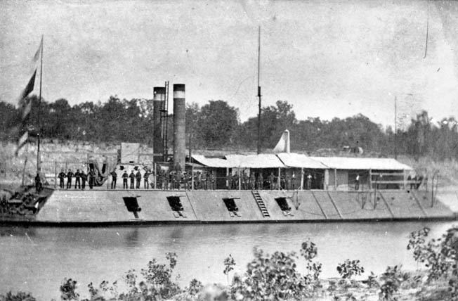 Alert Union crewmen stand vigil atop their well-maintained gunboat on the Red River.