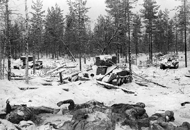 Dead Red Army soldiers and abandoned tanks mark the scene of a brief but violent ambush during the Winter War. Finnish troops proved masterful in the art of winter warfare. Taking advantage of mobility and concealment, they routinely claimed a heavy toll in Soviet men and equipment.