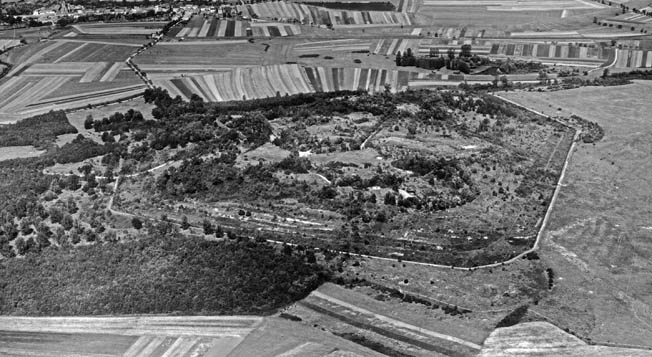 An aerial view of Fort Koenigsmacker. The fortification, built from 1908 to 1915, bristled with revolving turrets, stout bunkers, and other gun emplacements.