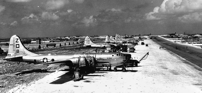 After the island was secured, Aslito Airfield was turned into a vast B-29 base.