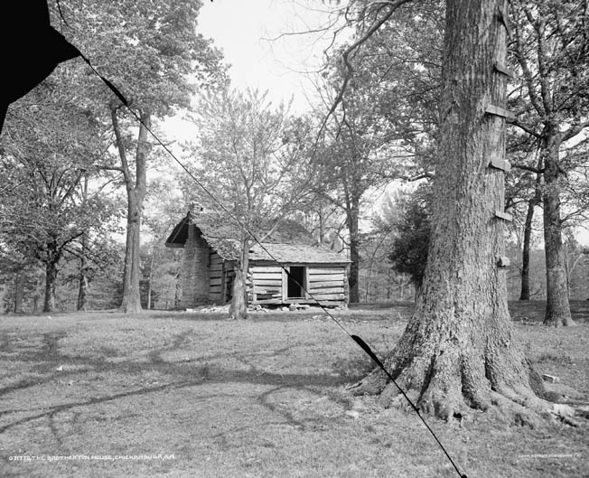 The log cabin known as the Brotherton House was a local landmark that served as the rallying point for Johnson's men at Chickamauga.